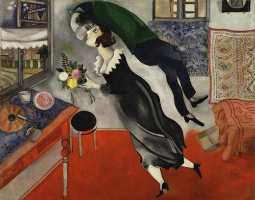 This is a famous Chagall. Marc and Bella's bond seems to closely resemble Dr. James' unity marriage, from Marc's paintings and writings, it seems that the relationship was even woman-centered.