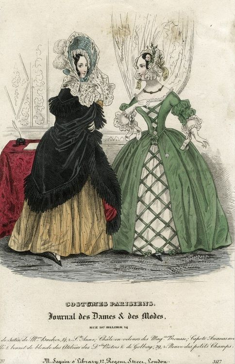October fashions, 1837 France, Journal des Dames et des Modes  Sleeve puffs and lacing effect