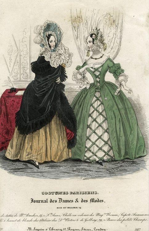 October fashions, 1837 France, Journal des Dames et des Modes  Sleeve puffs and lacing effect