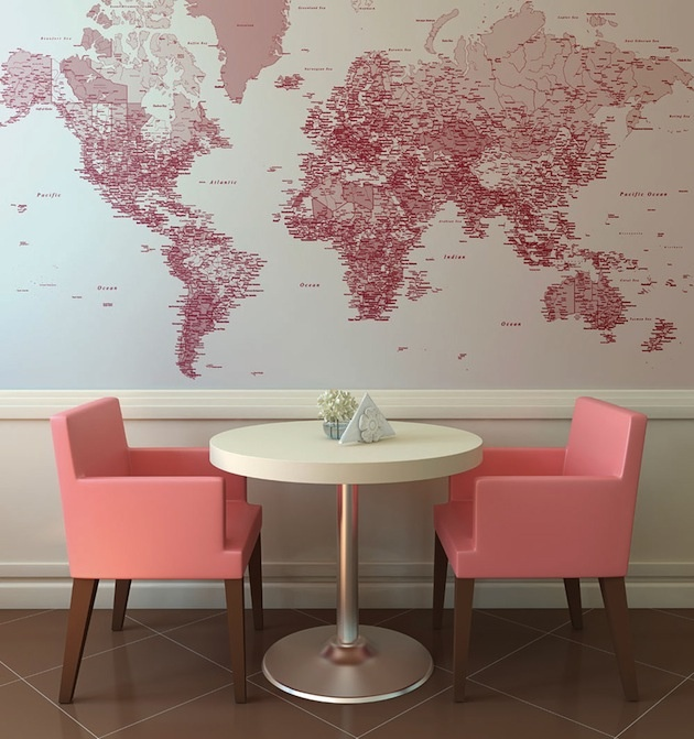 40 best girl images on pinterest bedrooms child room and map i like this detailed pink world map wallpaper especially with those pretty chairs gumiabroncs Gallery