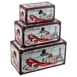 """Set de cufere """"Couture Paris"""" - set de trei cufere din lemn, învelite în pânză, având colţurile şi muchiile dublate cu întărituri din piele ecologică. http://www.retroboutique.ro/mobila/cufere/set-de-cufere-couture-paris-1631"""
