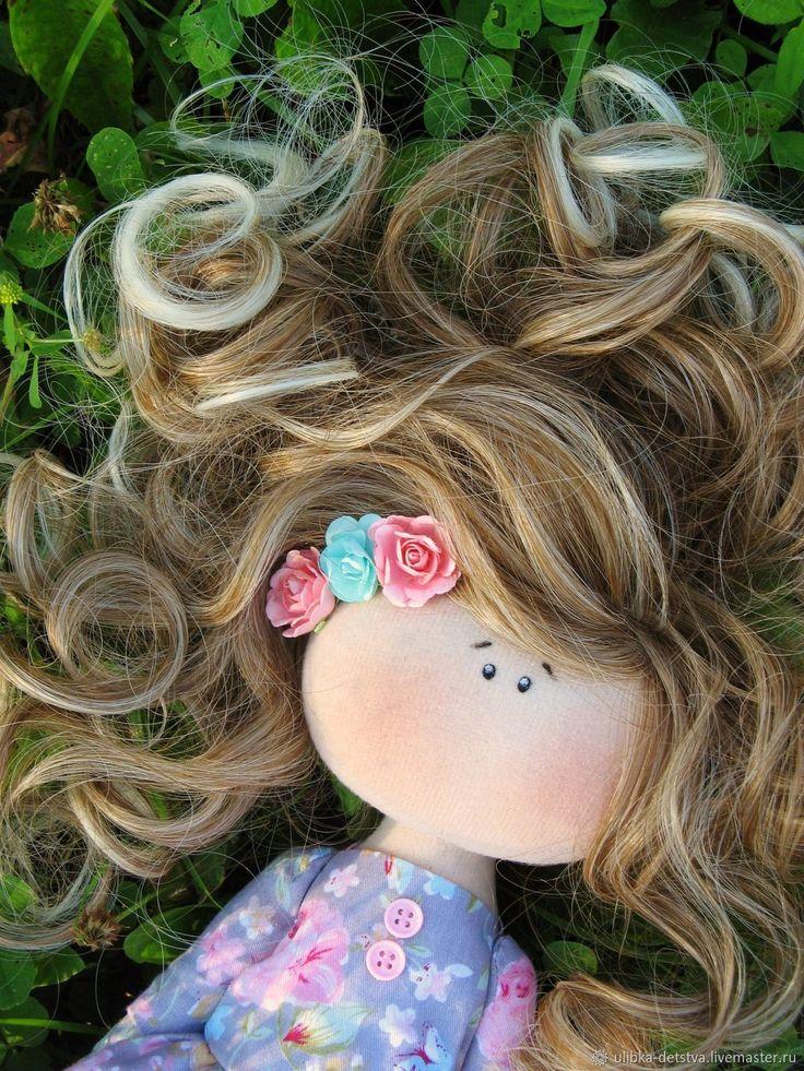 Купить Деревенская девушка - нежная кукла, полевые цветы, бабочки, деревенский стиль, ручная работа.....(lovely locks!)....