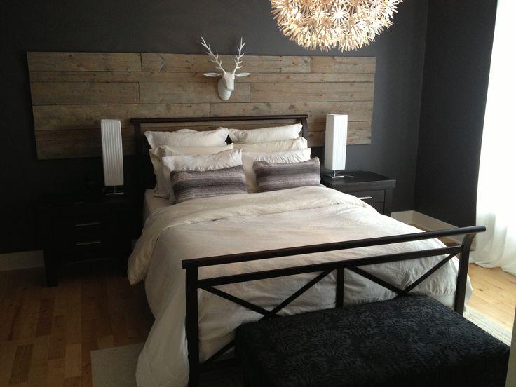 Tête de lit bois de grange. (barn wood bedhead)