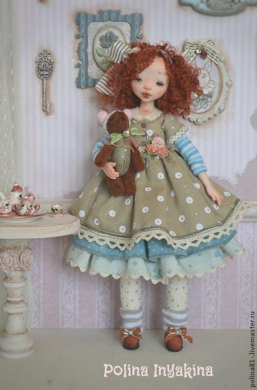 кукла из запекаемого пластика Клементина - голубой,кремовый,кукла с мишкой