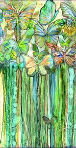Alcohol Ink Mixed Media - Butterfly Bloomies 2 - Rainbow by Carol Cavalaris