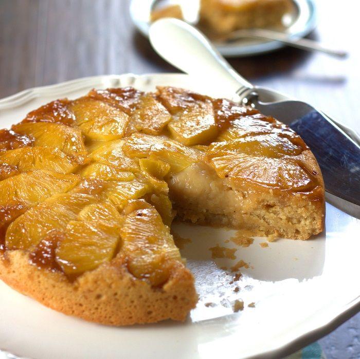 Sliced Vegan Pineapple Upside Down Cake