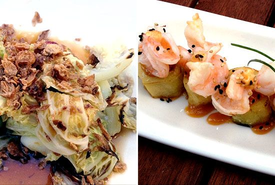Soyu braised cabbage in white truffle vinaigrette and prawn eggplant stacks at Toku Toku izakaya in Glebe, Sydney. Read full review http://eatdrinkdaily.com/toku-toku-izakaya-glebe-sydney/