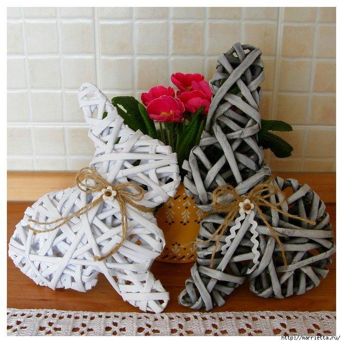 Conejos de papel de periódico reciclado - Rabbits with newspaper recicled