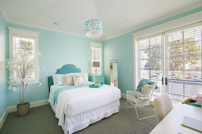 The same beach house, another view. Aqua bedroom. California beach house.
