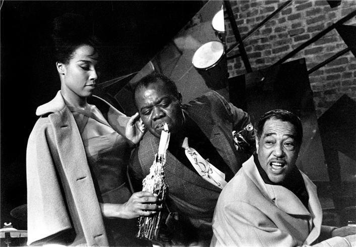 Herman Leonard | Duke Ellington, Louis Armstrong & Diahann Carroll, Paris, France, 1960 (DKE14)
