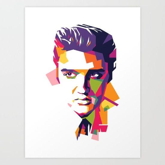 Elvis Presley in WPAP (Wedha's Pop Art Portrait), music, legend, king of rock'n roll, love me tender