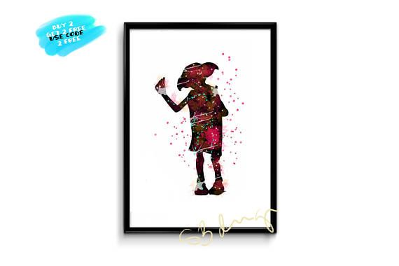 Harry Potter Poster Watercolor Dobby Poster Nursery Watercolor