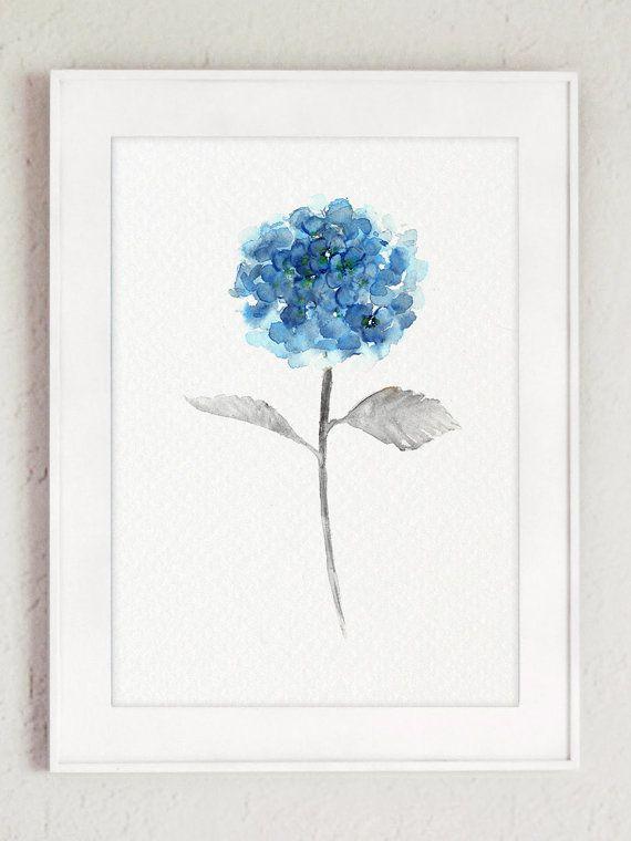Hydrangea Watercolor Painting, Blue Floral Arrangement Print, Decorative Painted…                                                                                                                                                                                 Más