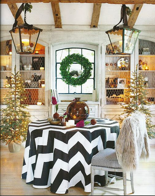 the chevron tablecloth - not to mention it's in b & w!
