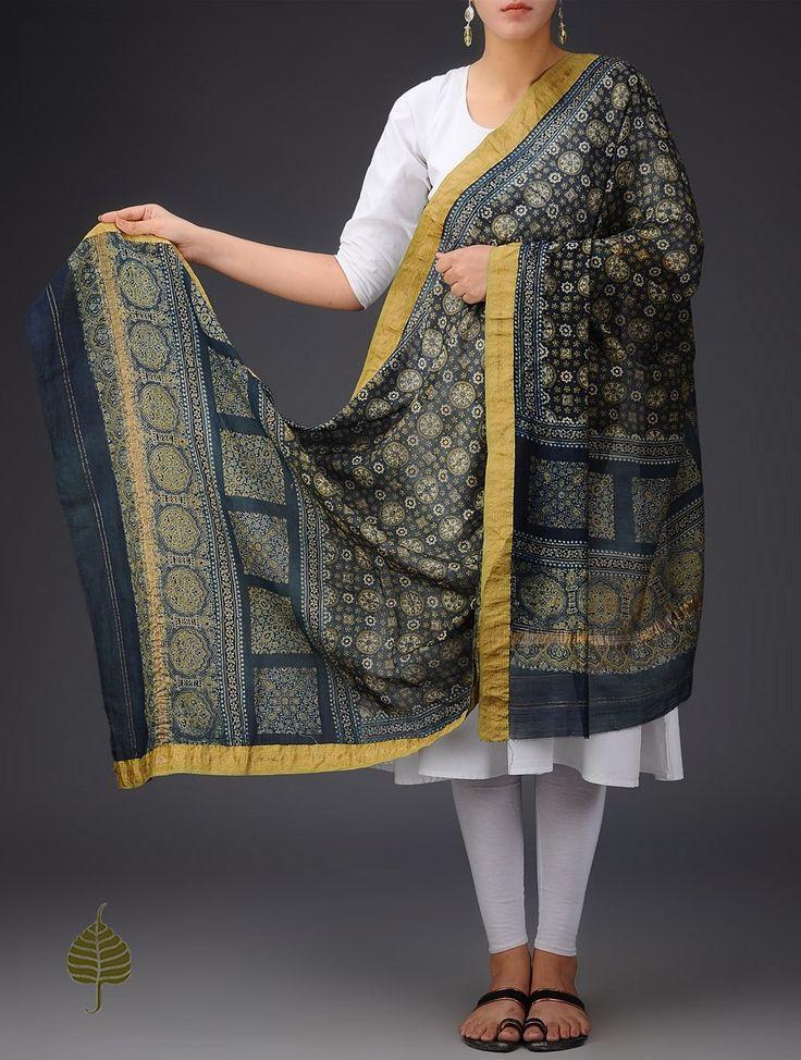 Buy Blue-Olive-Black Chanderi Ajrakh Printed Zari Border Dupatta By Jaypore Online at Jaypore.com