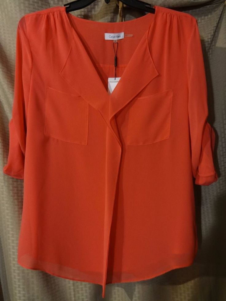 CALVIN KLEIN Scarlet Red XL Womens Top w Attached Inner Tank Flowing Blouse  #CalvinKlein #TwoinOneTankBlouse #Casual