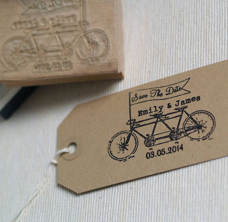 tandem bike save the date rubber stamp by beautiful day   notonthehighstreet.com