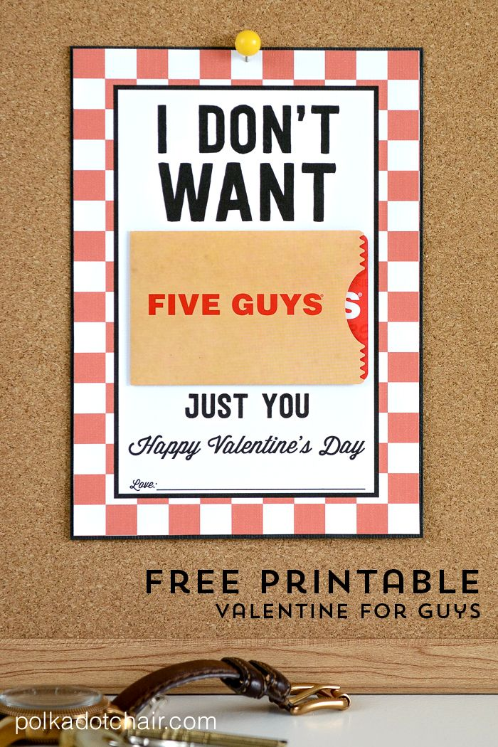 "A free ""punny"" Valentine Gift Card Printable for the guy in your life!"