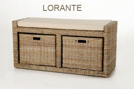 Sitzbank LORANTE aus Rattan, koboo-grey