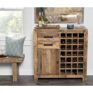 Kosas Home Hand-crafted Oscar Natural Recovered Shipping Pallets Wine Cabinet | Overstock.com Shopping - The Best Deals on Bars