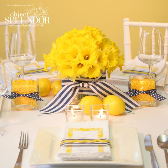 black and yellow diy table decor | Do-It-Yourself Wedding Reception Centerpieces | St. Simons Island ...