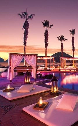 Sunset poolside, Nikki Beach, Cabo San Lucas
