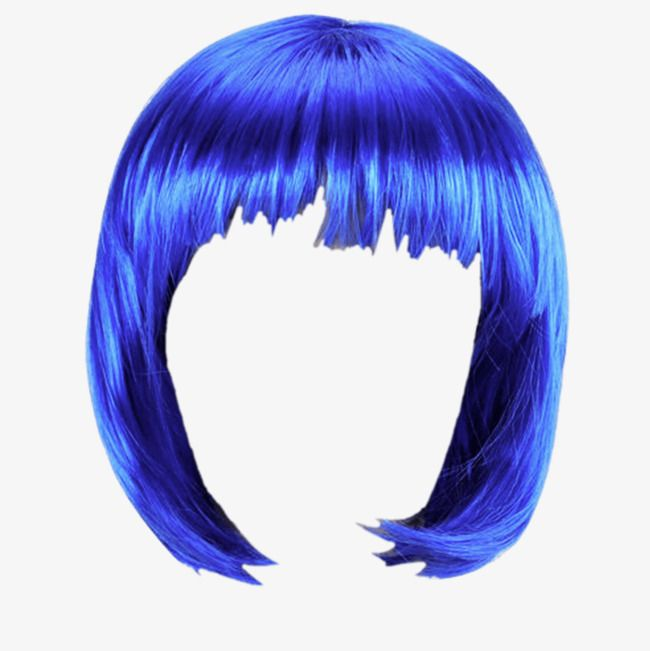 Blue Hair Blue Wig Short Hair Png Transparent Clipart Image And