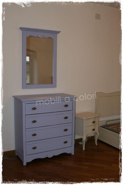 Casa arredata a Genova da mobiliacolori.it #camera #ingresso stile #provenzale avorio azzurro e lavanda