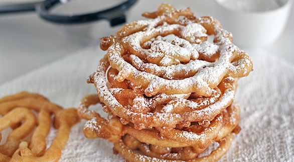 DIY State Fair  Funnel Cakes by girlversusdough, via taste-for-adventure #Funnel_Cakes