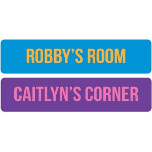 """Product # RGS133 - Let the kids claim their territory! Super adhesive vinyl is removable and reusable - won't harm the wall. Choose from pink/purple or orange/blue. Personalization: Entire line, up to 25 characters (will be printed all CAPS). 20""""L x 4-1/2""""H.  $9.98"""