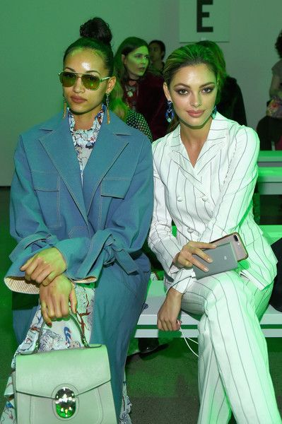 Demi-Leigh Nel-Peters Photos - Kara McCullough and Demi-Leigh Nel-Peters attend the Vivienne Hu front row during New York Fashion Week: The Shows at Gallery II at Spring Studios on February 13, 2018 in New York City. - Vivienne Hu Fall Winter 2018 New York Fashion Week Runway Show - Front Row