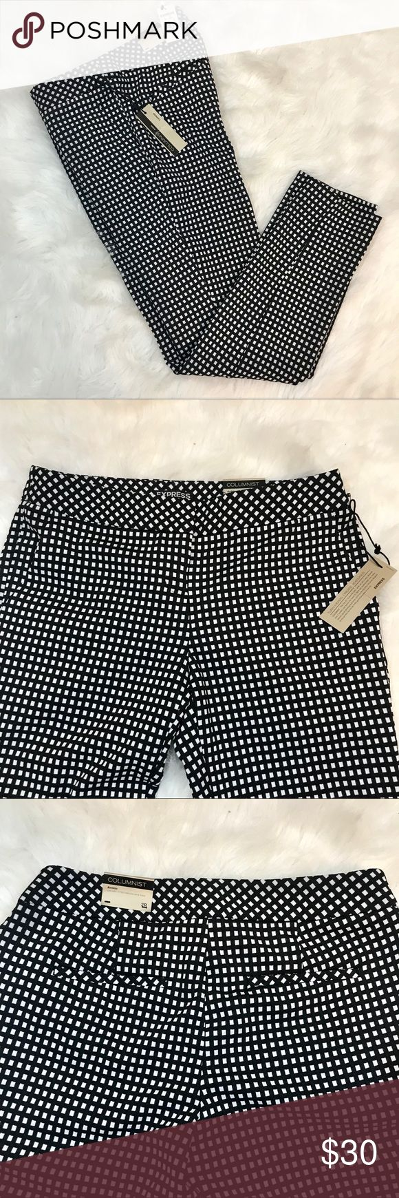 """Express Columnist Ankle Pants Size 2R New with tags! Absolutely no rips or stains! Black pants with small white squares.  Flat measurements  🔹Waist 15 1/2"""" 🔹Rise 8 1/2"""" 🔹Inseam 28"""" Express Pants Ankle & Cropped"""