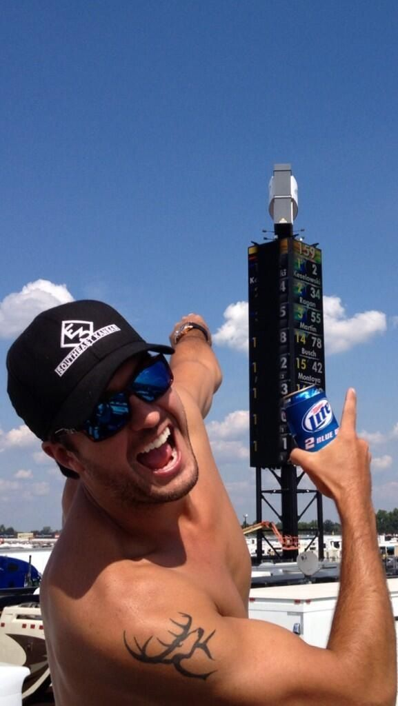 What can possibly get better than this picture? Nascar + Luke Bryan + Beer = Perfection <3