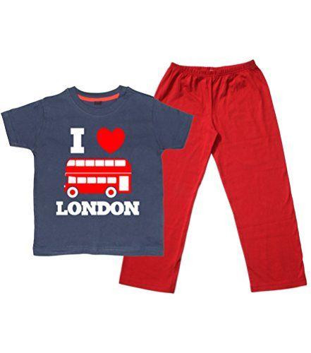Children's Navy T-Shirt & Red Long Pants Pyjama Set 'I LOVE LONDON BUS' with Text.