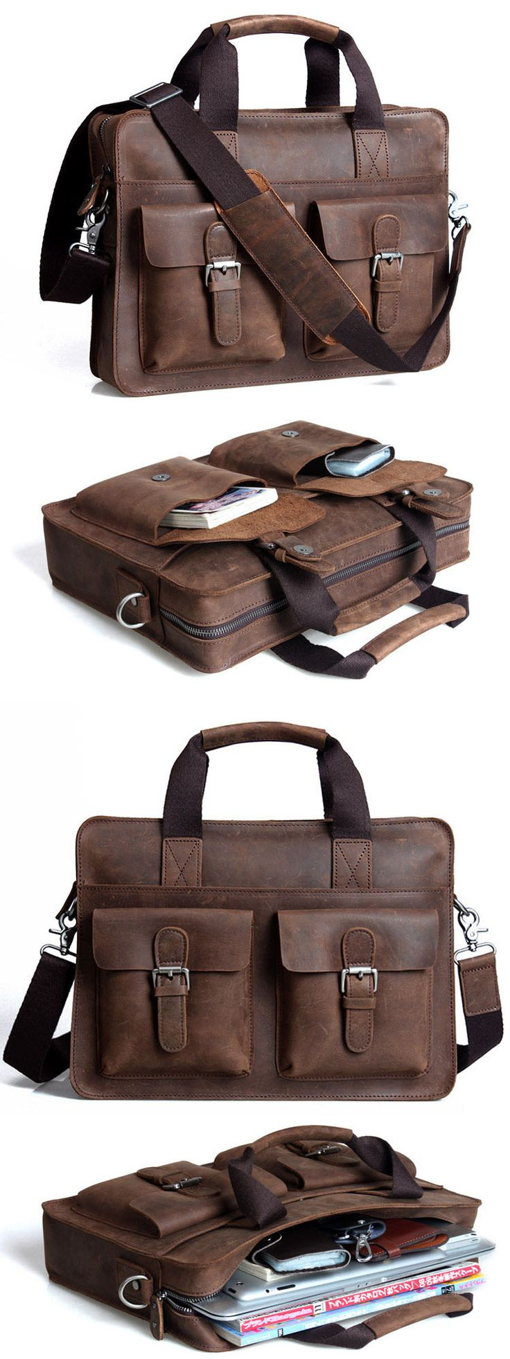 "Handmade Crazy Horse Leather Briefcase Messenger Shoulder Bag 13""14"" Laptop Macbook Ipad Bag"
