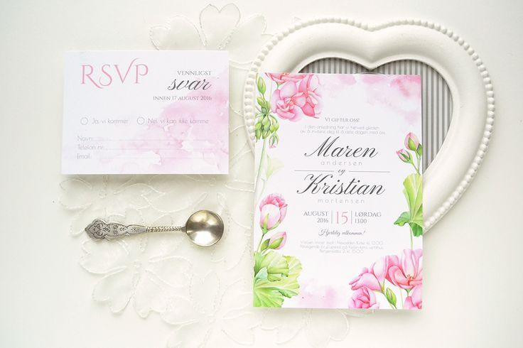 Geranium watercolor wedding invitation suite and guest addressing