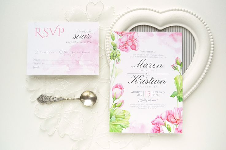 Geranium watercolor wedding invitation suite by Kateryna Savchenko - Akvarelldesign.com