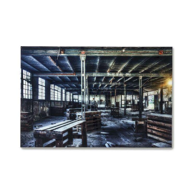 Πίνακας Glass Factory 100x150 Εντυπωσιακός γυάλινος πίνακας, ψηφιακή εκτύπωση σε φύλλο πολυπροπυλενίου, με θέμα ένα εγκαταλελειμμένο εργοστάσιο και γυαλί 4mm.