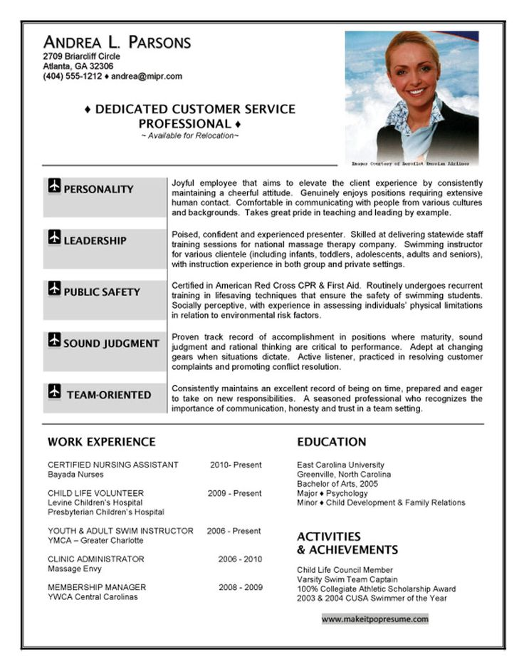 American Airlines Flight Attendant Sample Resume