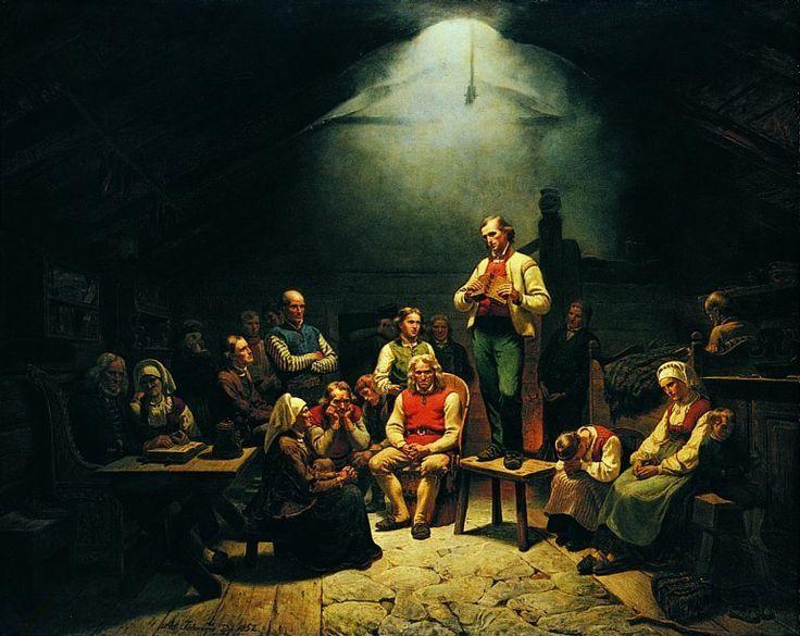 malerier | Adolph Tidemand. Haugianerne , 1852. Olje på lerret, 147 x 183 cm ...