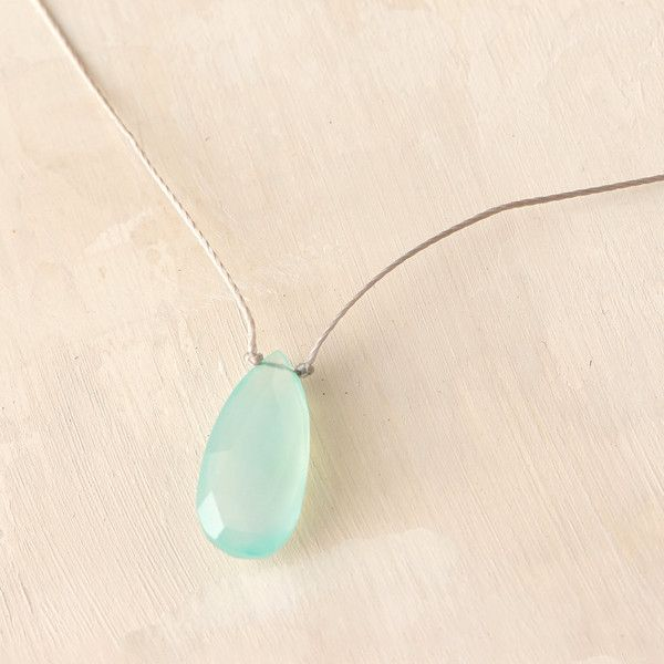 Mermaid Chalcedony Droplet Necklace ($68) ❤ liked on Polyvore featuring jewelry, necklaces, blue, chalcedony necklace, blue chalcedony necklace, blue jewelry, chalcedony jewelry and blue necklace