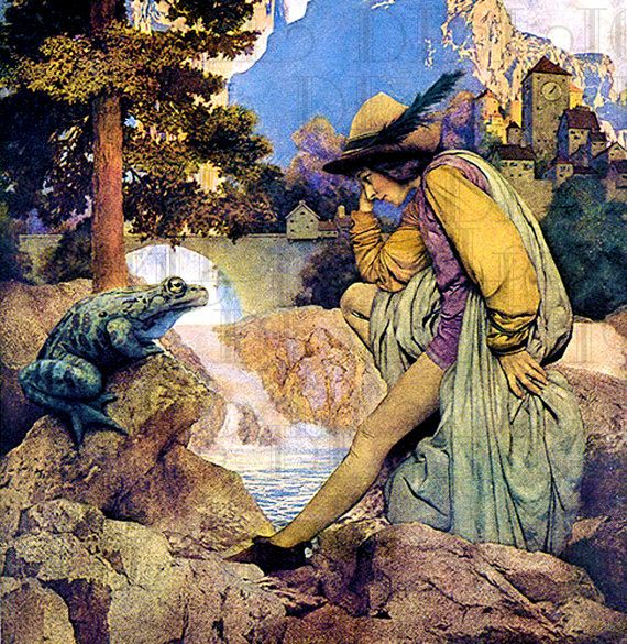 Famous Frog Prince. Maxfield PARRISH. Fairy Tale Vintage ILLUSTRATION. Book Plate DIGITAL Download on Etsy, $1.99