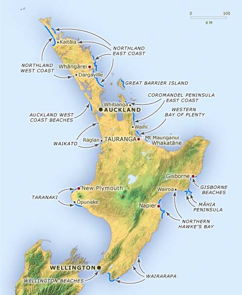 New Zealand surfing locations
