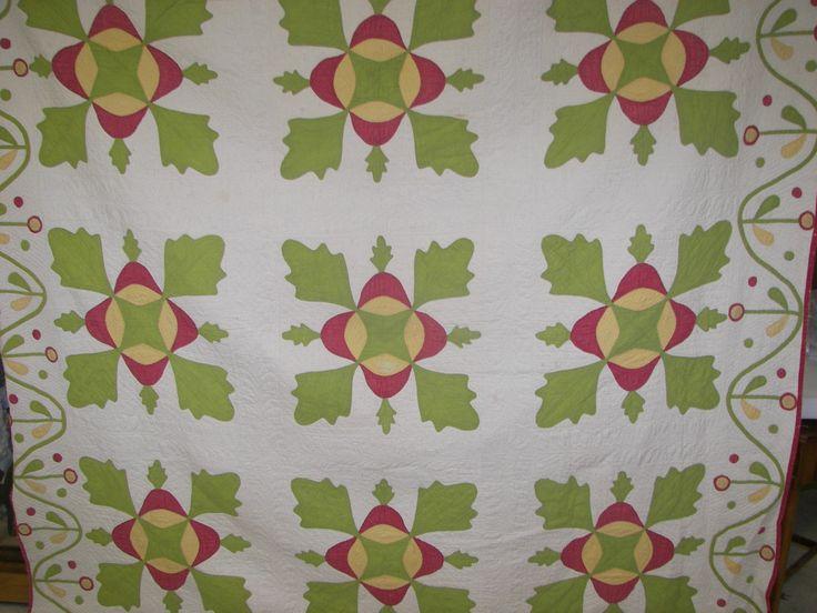 Antique oak leaf applique quilt fancy border cotton