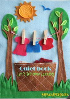 Four awesome templates for felt quiet book pages including this fantastic clothesline page.