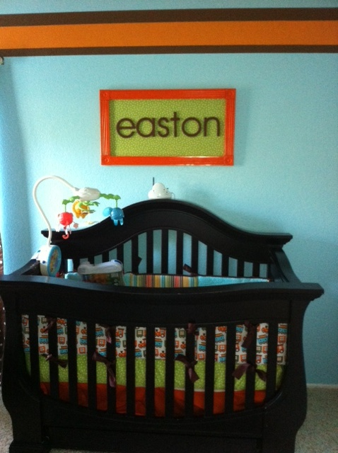 Child's name board:  1. particle board cut to size at a home improvement store  2. cover board in fabric or paint  3. paint wooden letters and glue on with E6000 glue  4. moulding cut to size and spray paint  5. Glue moulding frame on and shoot small nails in back with a nail gun or hammer for extra security  6. buy a picture hanging kit to put on the back
