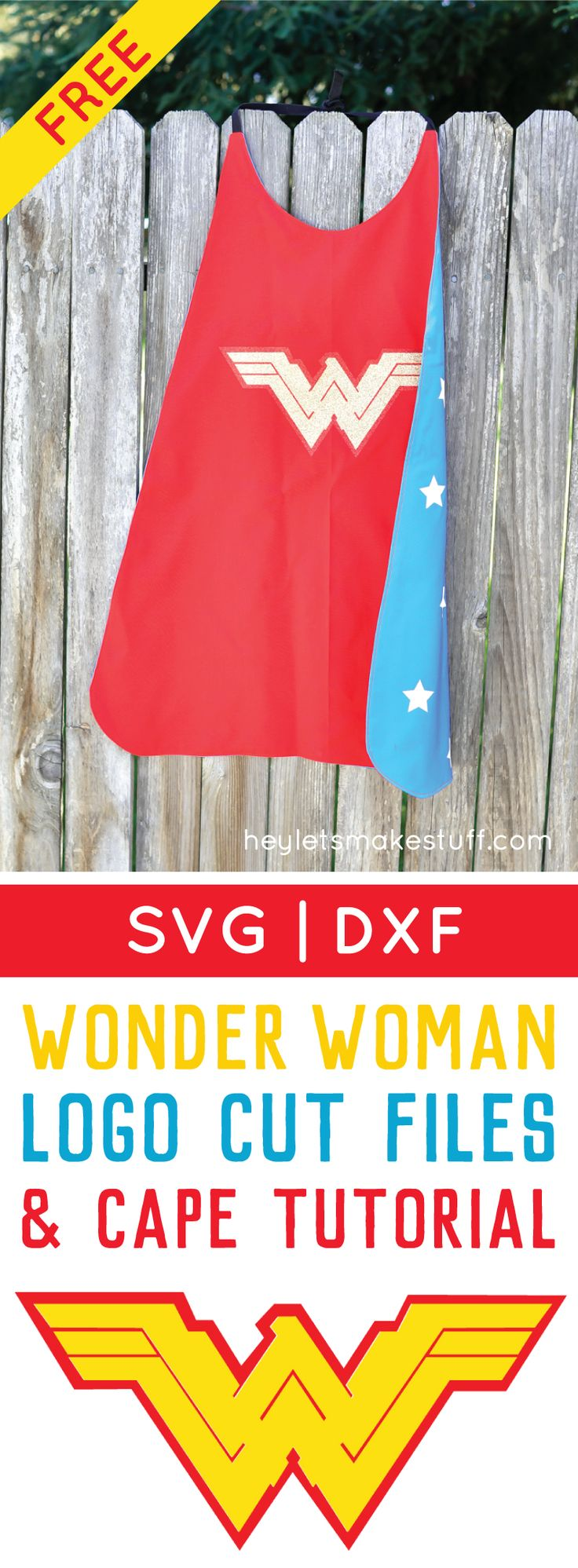 Wonder Woman gets an update in the new Batman v Superman movie! Get the free cut file for her new logo, plus learn how to sew a quick Wonder Woman cape.