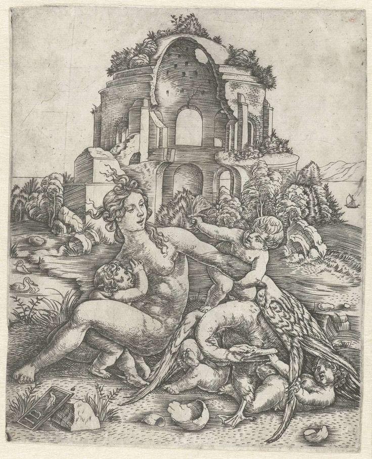 Leda en de zwaan met haar vier kinderen, Meester IB met de vogel, 1505 - 1515