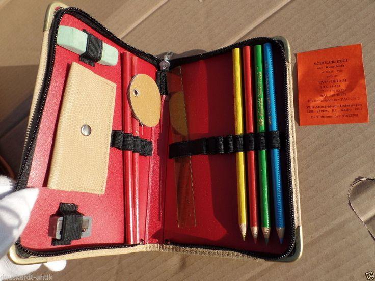 Schüleretui aus Kunstleder alte DDR Federtasche mit Beleg | eBay