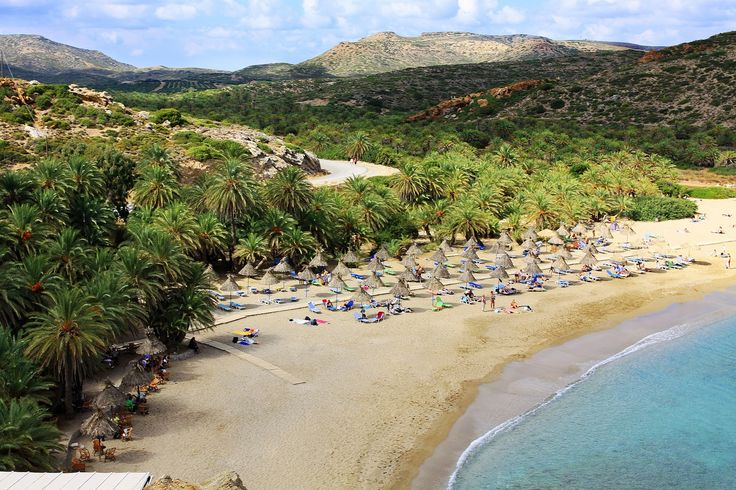The exotic beach of Vai in Sitia of Crete, by the largest European palm tree forest